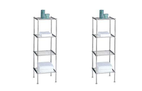 Organize It All 4 Tier Chrome Freestanding Bathroom Storage Shelf