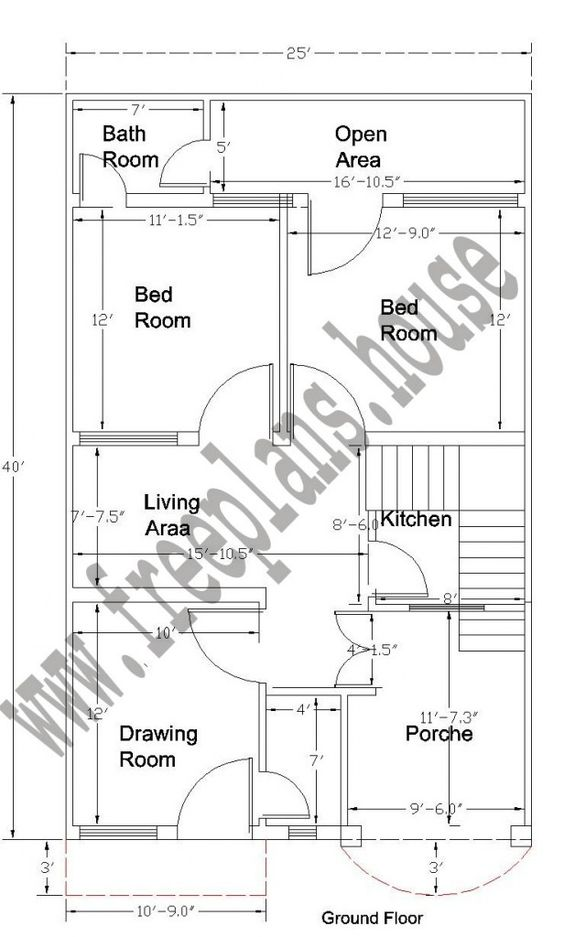 20x40 feet ground floor plan plans pinterest simple for 20x40 house layout