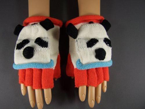 White Black Panda Bear face convertible flip mittens gloves fingerless texting