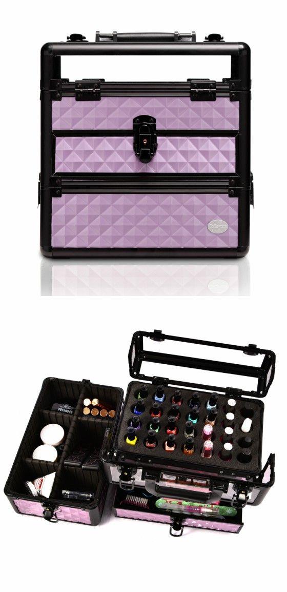 Purple Diamond Professional Nail Artist Makeup Train Case With Drawer Joligrace Travel Makeup C Cheap Makeup Organization Makeup Train Case Makeup Travel Case