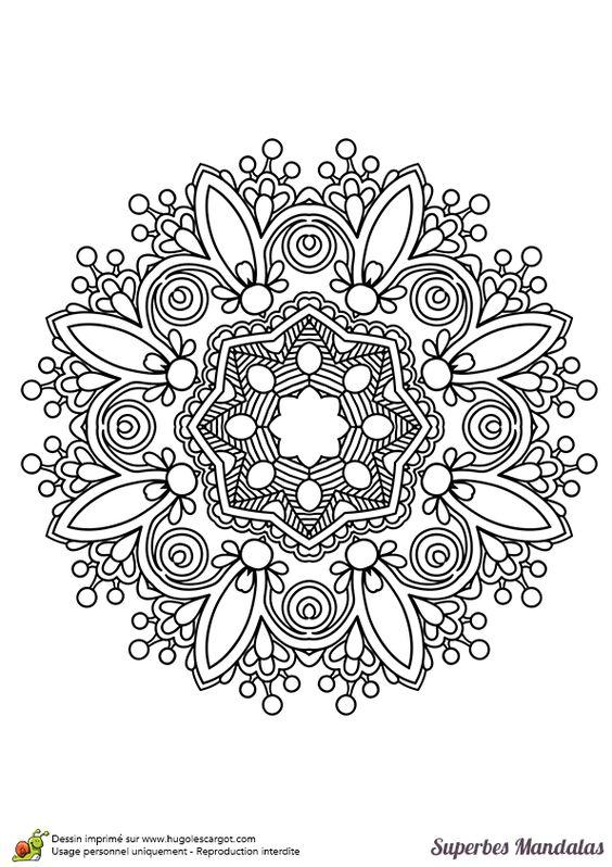 Coloriage d un magnifique mandala dans le style indien pas - Hugo l escargot com coloriage ...