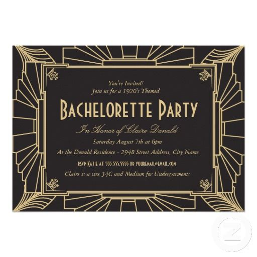 Great Gatsby Style 1920's Bachelorette Party Invitation   wedding ...