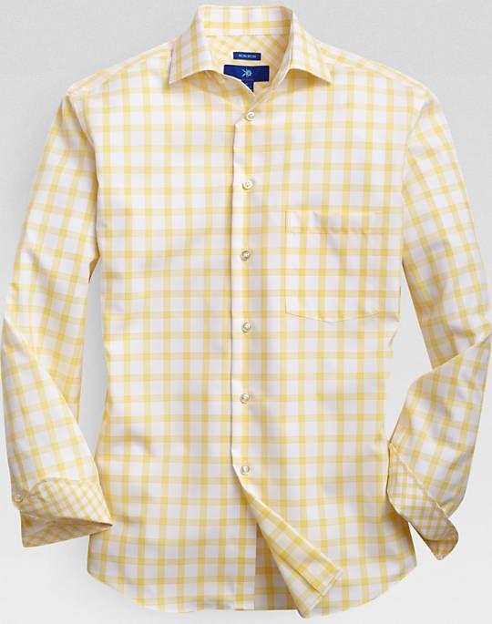 Yellow collar white dress shirt