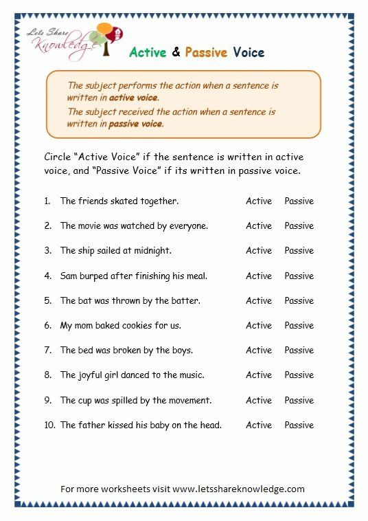 Active Passive Voice Worksheet New Passive Voice … Education Pinterest –  Chessmuseum Template Library Active And Passive Voice, Passive, The Voice