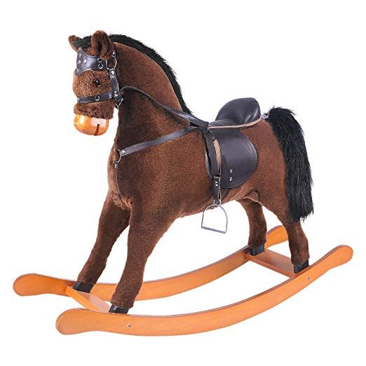 Labebe Child Rocking Horse Toy Stuffed Animal Rocker Toy Brown Rocking Horse With Bridle For Kid 3 8 Years Rocking Horse Toy Rocking Toy Wooden Rocking Horse