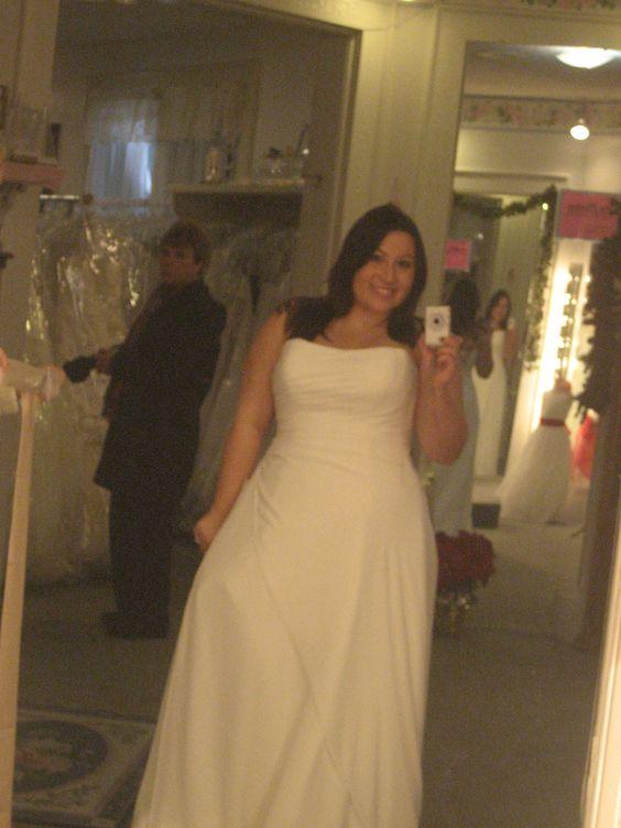A-line chiffon Maggie Sottero wedding gown.