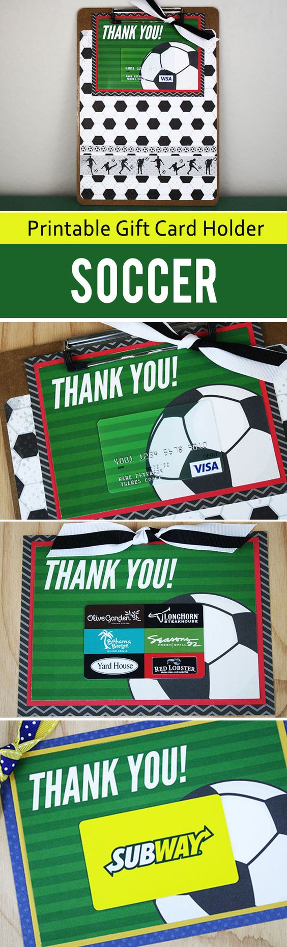 This free printable soccer coach gift card makes for an easy game-winning gift. Print the gift card holder and select a card from the store or order the matching soccer ball gift card online.