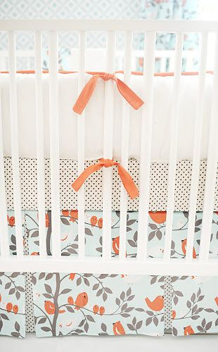 New Arrivals Feather Your Nest in Aqua Crib Bedding...so cute and unique for a baby girl room!