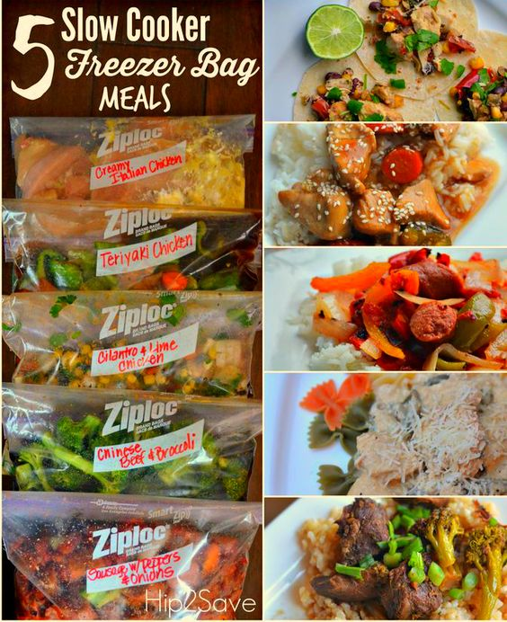 Slow Cooker Freeze Bag Meals that you can make under an hour. Save ...
