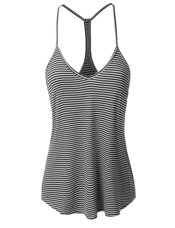 LE3NO Womens Loose Striped Spaghetti Strap Tank Top
