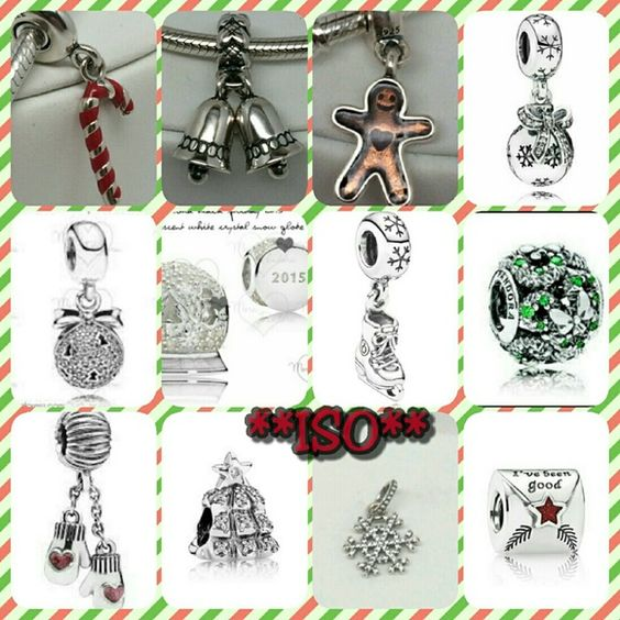 **ISO** Black Friday 2015 snowglobe.. red surprise present.. family heritage.. candy cane, bells, gingerbread man, ice skate, snowflake ornament, mittens, snowflake, and xmas tree dangles..xmas wreath pave.. I've been good letter to santa.. xmas tree.. Pandora Jewelry Bracelets