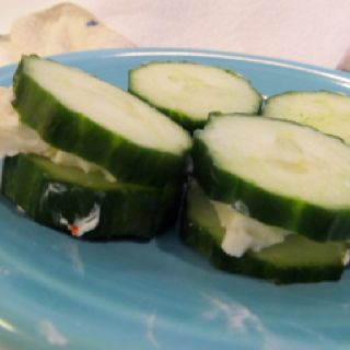 English Cucumbers with 1 wedge of laughing cow light cheese. One green and 1/2 healthy fat