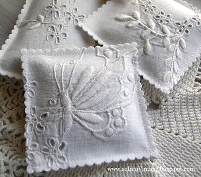 Use the good parts of old linens to make lavender sachets.
