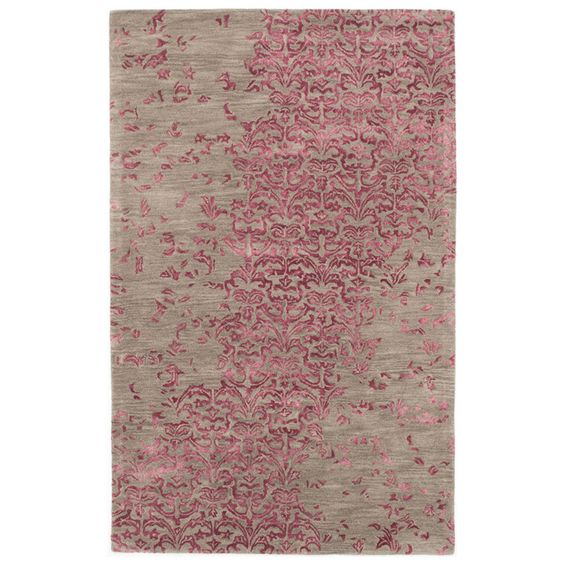 5'0 x 8'0 Impressions Rug in Dark Pink and Gray
