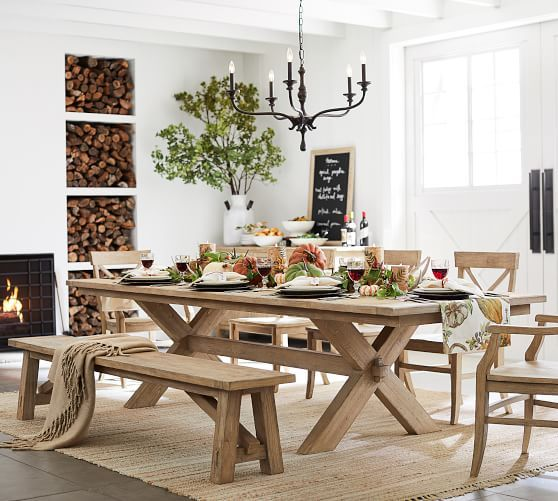 20+ Pottery barn dining table with bench Trend