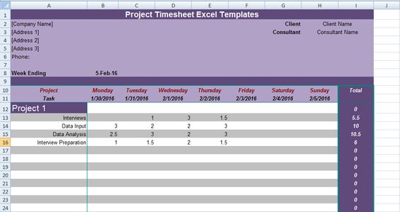 Get Project Timesheet Excel Templates Excel Project Management - timesheet calculator template