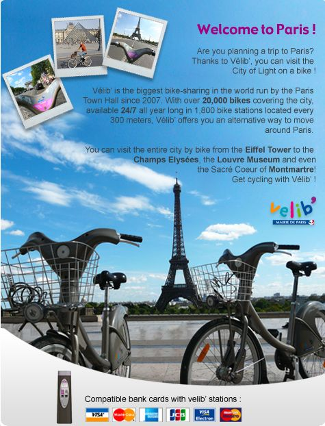 Velib (French bikeshare -- may require a Euro-style credit card)