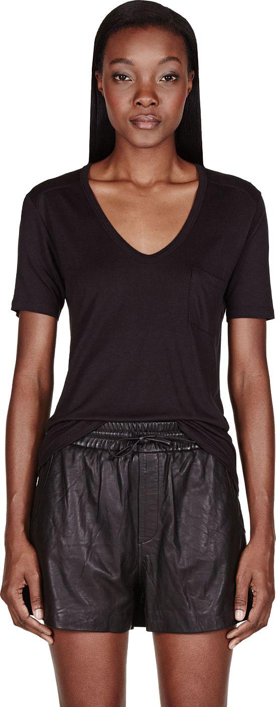 T by Alexander Wang - Black Classic Pocket T-Shirt