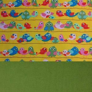 Set Jersey Vögel gelb+ Bündchen grün oder rosa