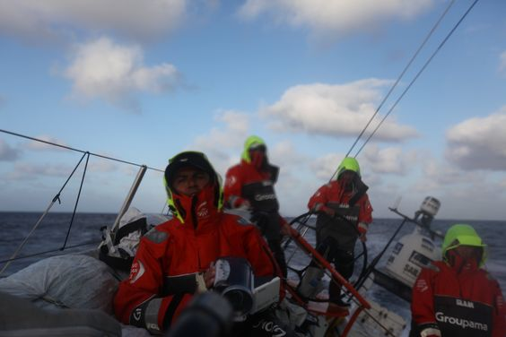 Leg 8 - Day 2 - The Groupama' deck with Damian, Yann and Charles ! / Credits : Yann Riou