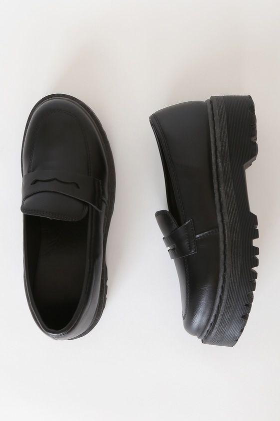 Maysie Black Flatform Loafers in 2020