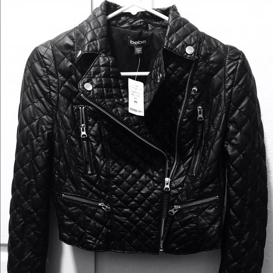 Bebe Multi Quilted Moto Jacket Brand new with tag! Received this as a gift. Do not fit me. Price negotiable! bebe Jackets & Coats