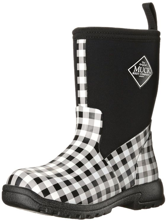Muck Boot Kid's Breezy Rain Boots Black Gingham Size 10.0M