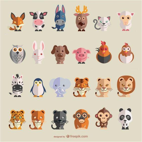 Conjunto de vectores planos de animales