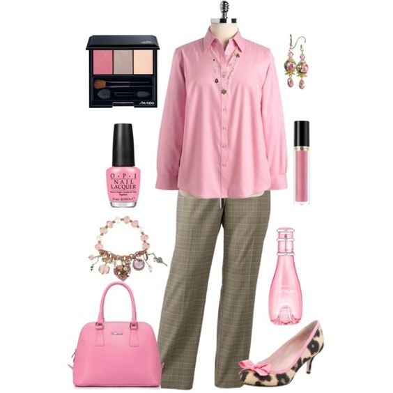 """""""Plus Size Work in Pink"""" by elise1114 on Polyvore"""
