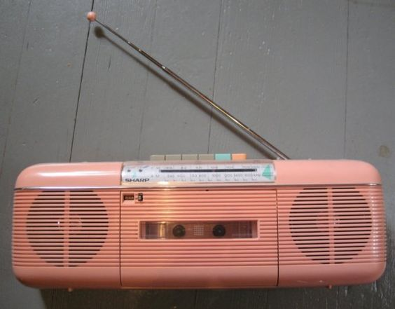 Pink 80's boom box - pretty sure I had this exact one!  http://www.reliabletop.com