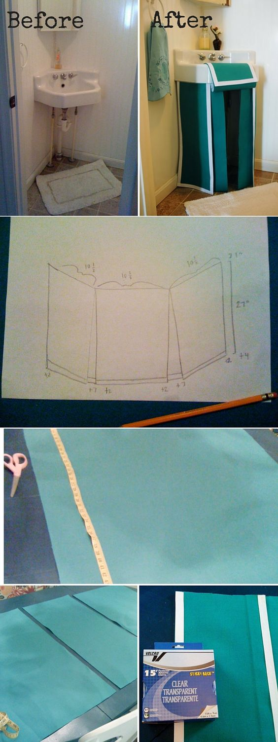 Check out the tutorial: #DIY Pedestal Sink Skirt #crafts #decor