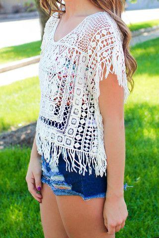 Fringe Crochet Poncho   uoionline.com: Women's Clothing Boutique