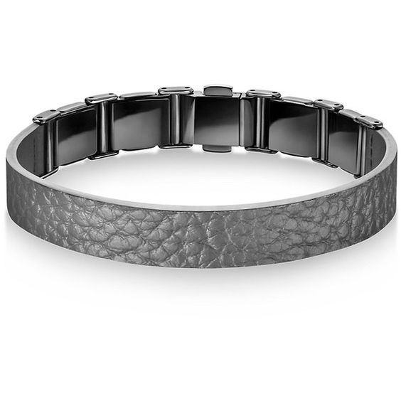 Calvin Klein Women's Grain Calf Strap Bracelet (€340) ❤ liked on Polyvore featuring jewelry, bracelets, grey, calvin klein, calvin klein jewelry and grey jewelry