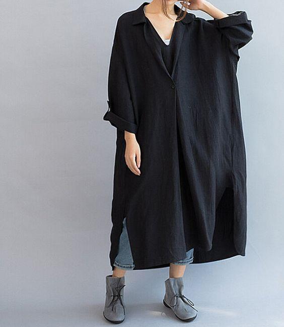 Losse Fitting linnen lange vrouwen kleden / Asymmetric door MaLieb