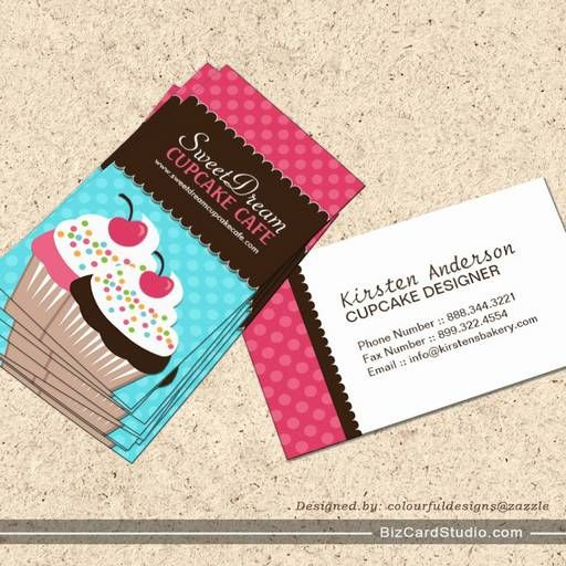 Whimsical Cupcake Business Cards   Bakery business cards, Bakeries ...