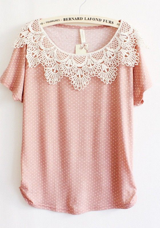 Polka Dot lace Round Neck Top
