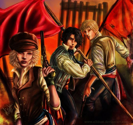 Sunset at the Barricade by elfdust.deviantart.com    Based on the original characters created by PiccolaRia from deviantart.