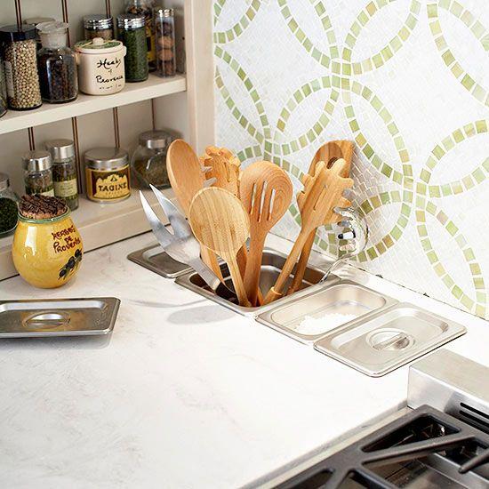 Kitchen countertops, Storage bins and Utensil storage on Pinterest