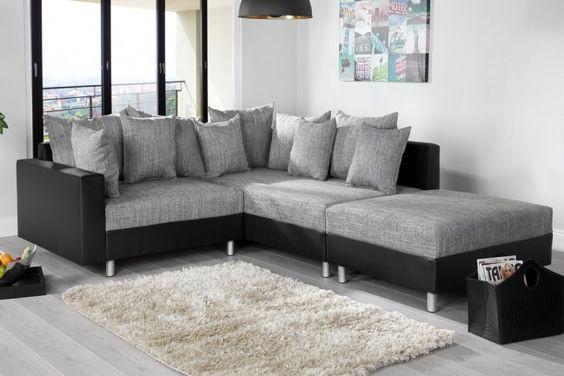 """Design Ecksofa mit Hocker LOFT schwarz Strukturstoff grau Federkern OT beidseitig aufbaubar - Das stilvolle Ecksofa """"LOFT"""" lädt zum entspannen und wohlfühlen ein. Modernes Design, klare Linien und ein"""