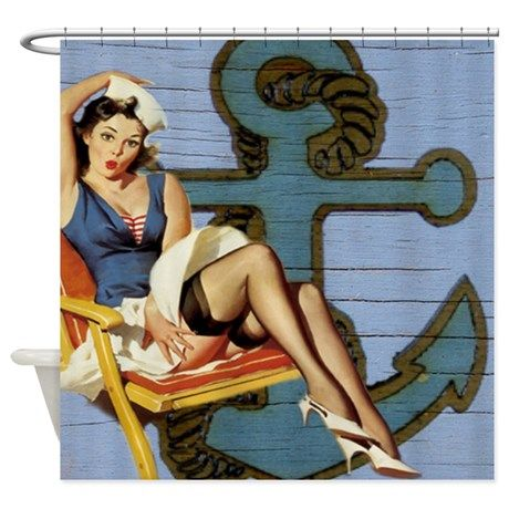 nautical pin up girl sailor vintage anchor Shower