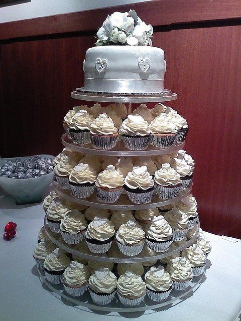 I LOVE the idea of having a cupcake tower instead of a giant EXPENSIVE wedding cake. Also love the small little cake for the top tier! Perfect for saving until your 1 year anniversary (: