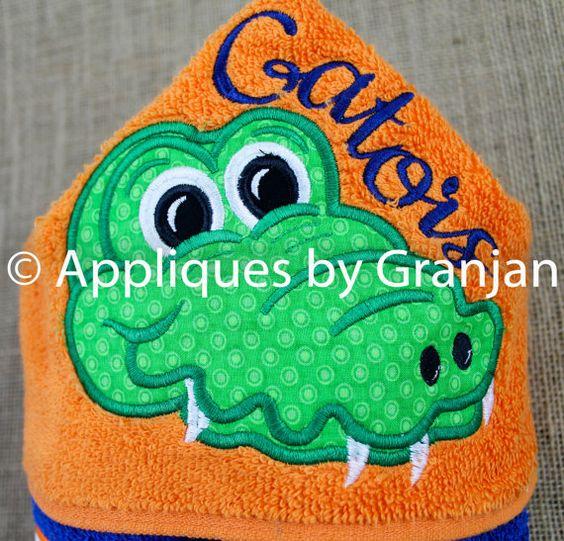 Gator Hooded Towel in Florida Orange and by AppliquesByGranjan