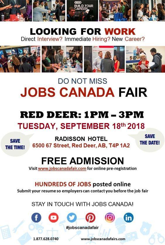 Looking For A Job Immediate Hiring Direct Interview Jobs Canada Fair Red Deer September 18th From 1 3pm Free Job Fair Looking For A Job Hr Management