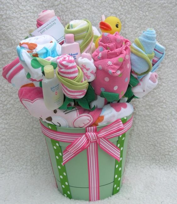 Baby Gift Basket Flowers : Shower gifts baby and blossoms on