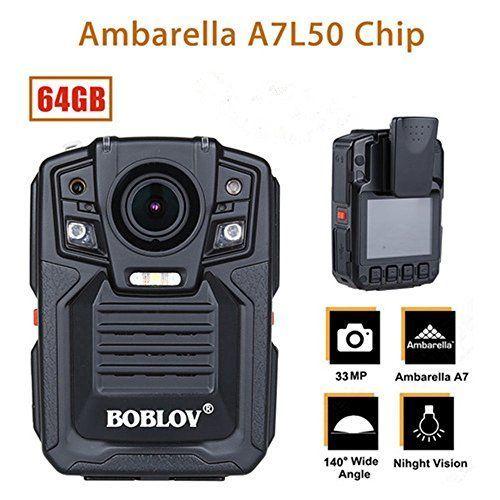 BOBLOV HD 1296P A7 64GB Wide Angle Ultra Police Security Body Worn Camera Inf...