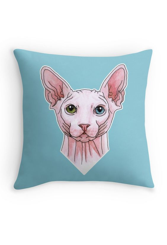 """Sphynx cat portrait"" Throw Pillow by Savousepate on Redbubble #throwpillow #homedecor #sphynx #cat #drawing #watercolor #white #pink #blue #green"