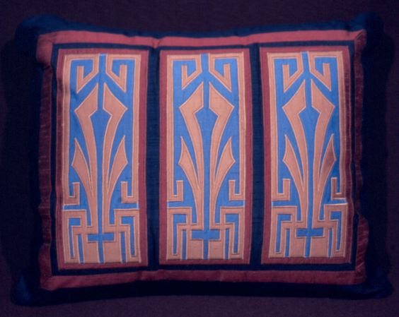 """""""AZTEC BLEU""""  Silk on silk appliqued pillow, inspired by the Art Deco period  Hand cut/machine stitched without the aid of computers  18"""" x 22"""""""