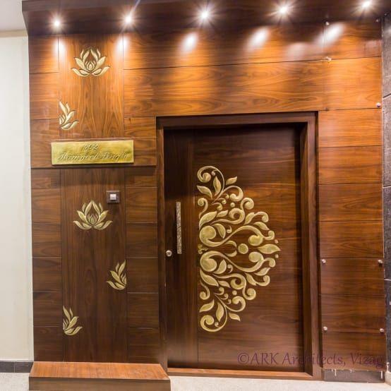 A Small And Stylish Flat In Visakhapatnam Homify Homify Indian Main Door Designs Main Door Design Room Door Design