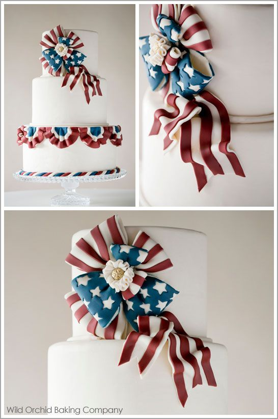 Wow! Beautiful 4th of July cake!  Vintage Patriotic Bunting Cake by Wild Orchid
