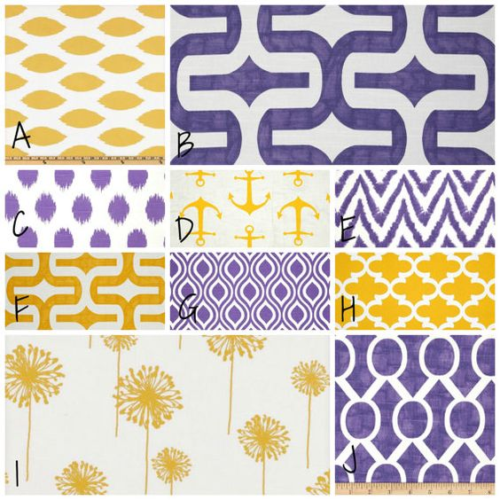 Hey, I found this really awesome Etsy listing at https://www.etsy.com/listing/179988061/purple-and-yellow-custom-crib-bedding